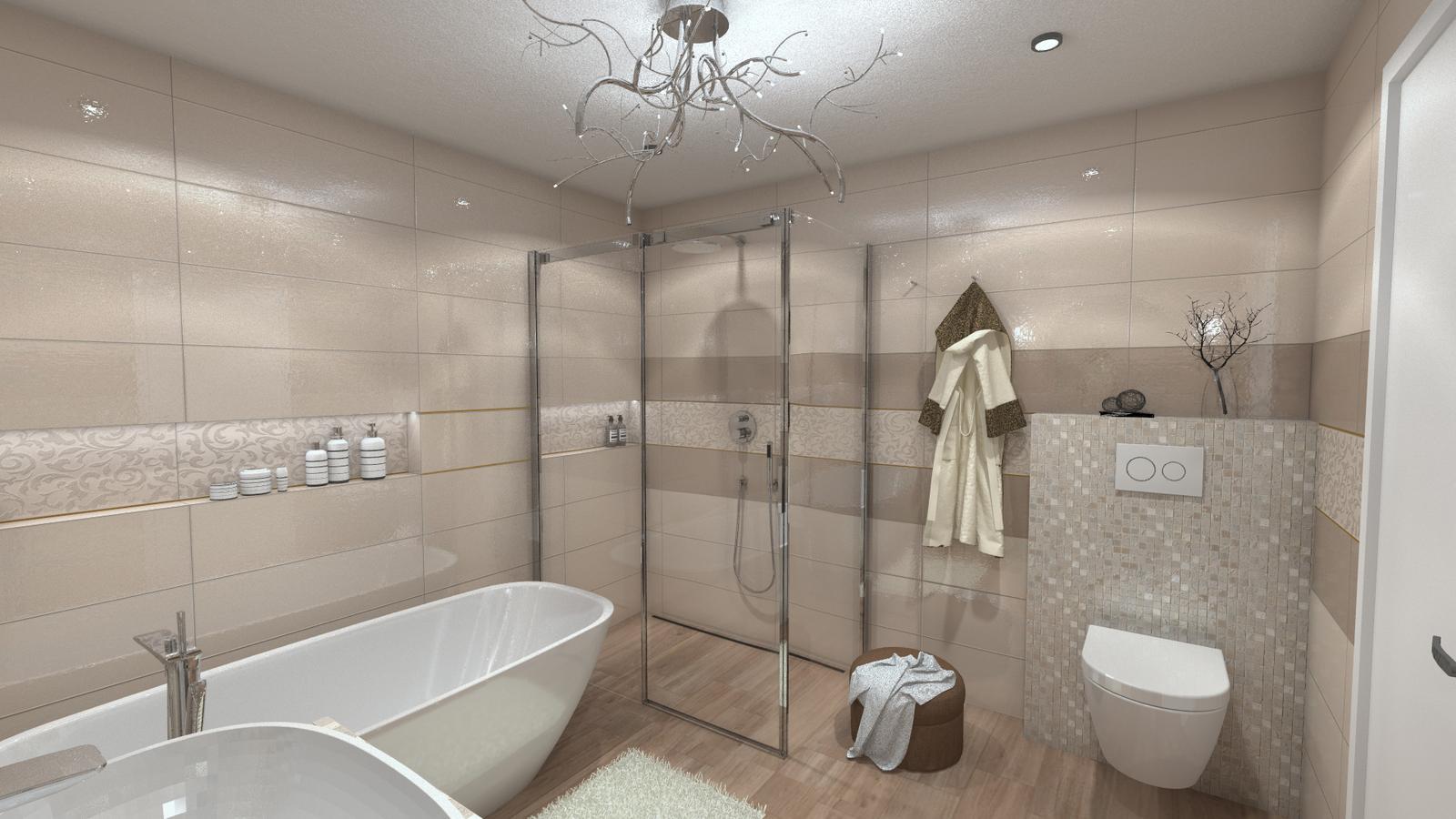 Vizualizácie kúpeľní - Obklady v prírodných farbách s nádychom luxusu. Vizualizácia kúpeľne.