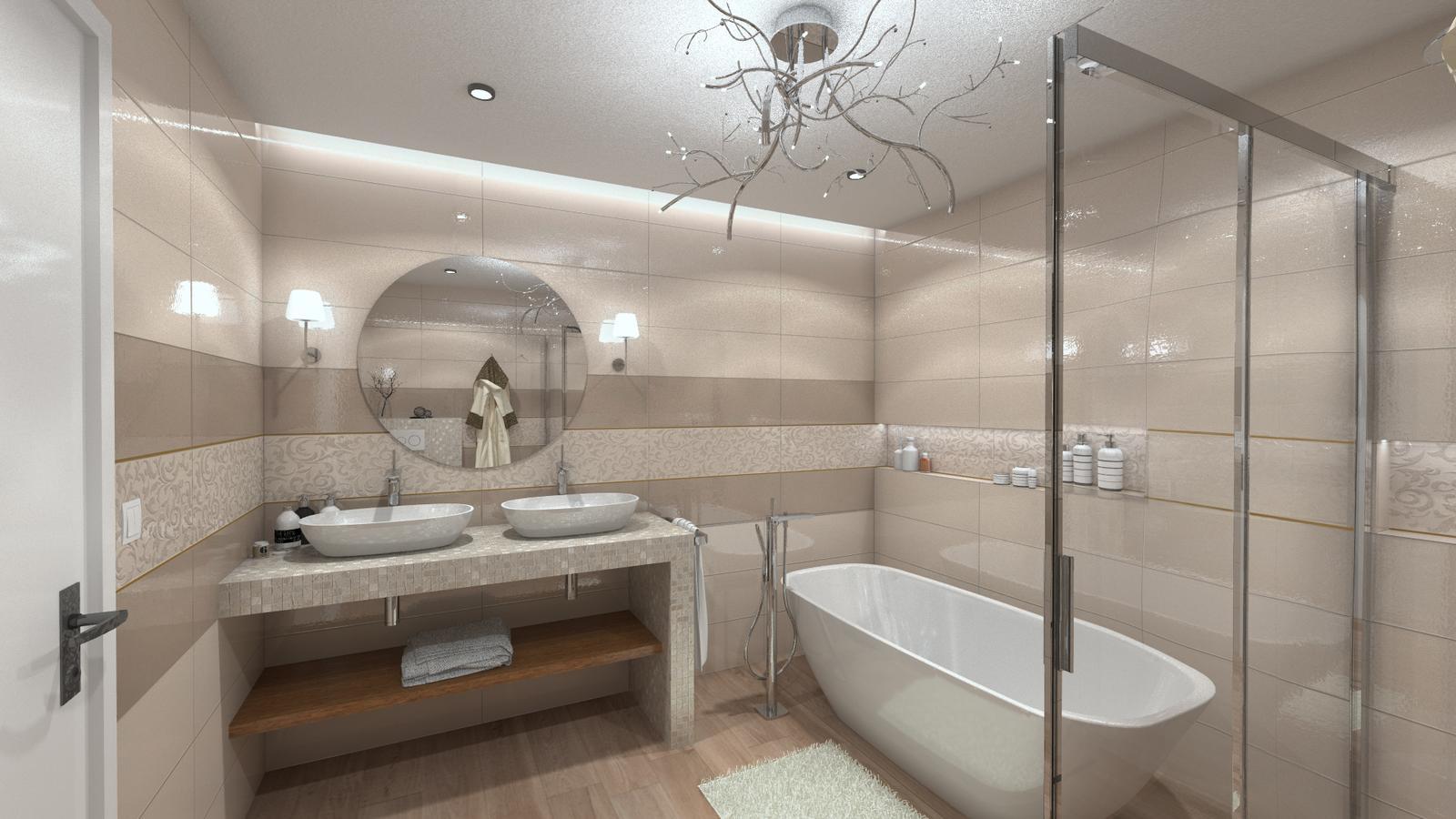 Vizualizácie kúpeľní - Obklady v prírodných farbách s nádychom luxusu. Vizualizácia kúpeľne. Viac našich inšpiratívnych návrhov nájdete na: www.modernekupelne.sk/navrhy-kupelni