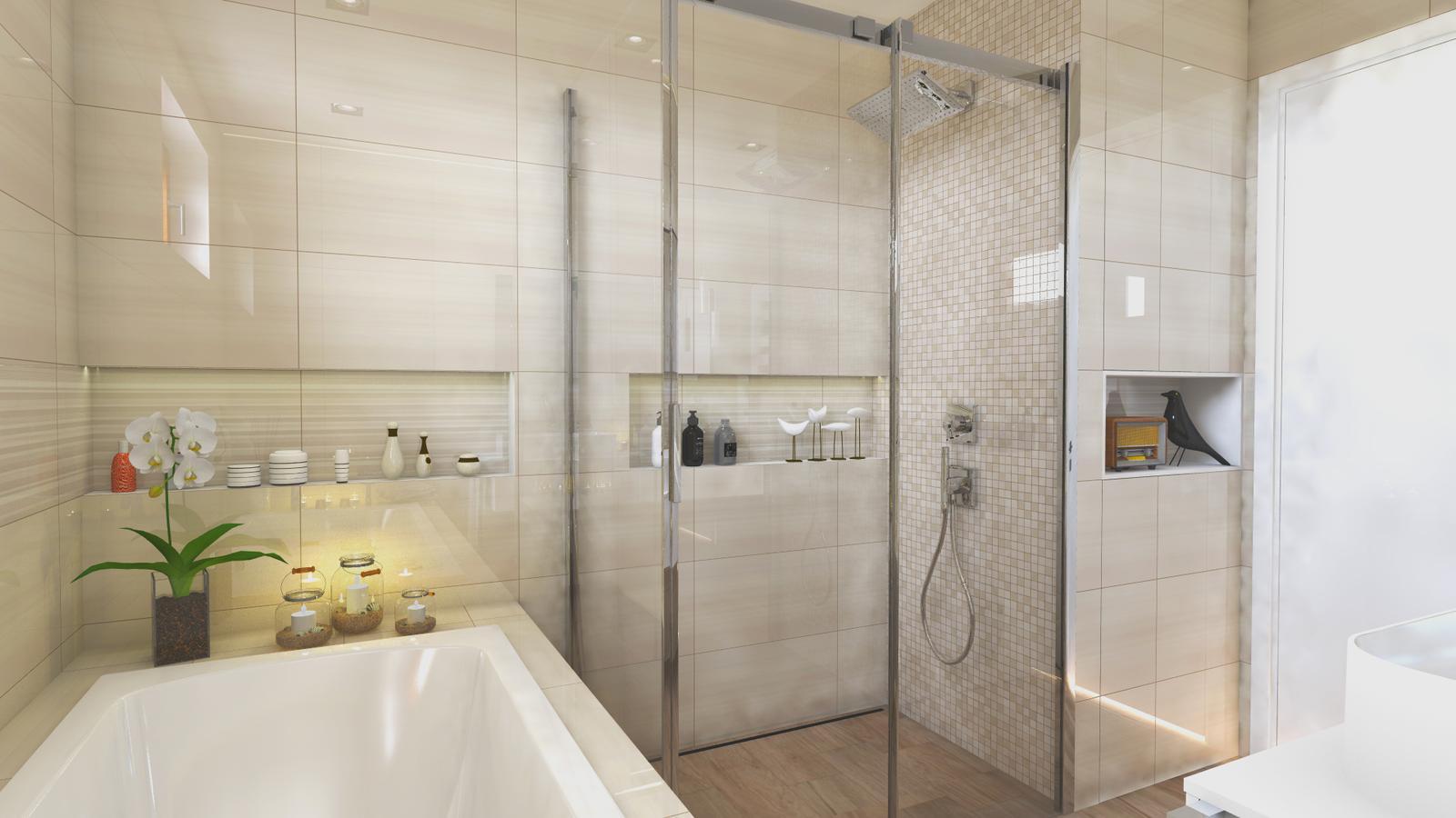 """Vizualizácie kúpeľne - V atypickej skrinke pri sprche je schovaný boiler a spodná časť by mohla byt využitá ako odkladací priestor, alebo na práčku. Predelenie je riešené nikou, ktora je obložená bielym """"drevom""""."""