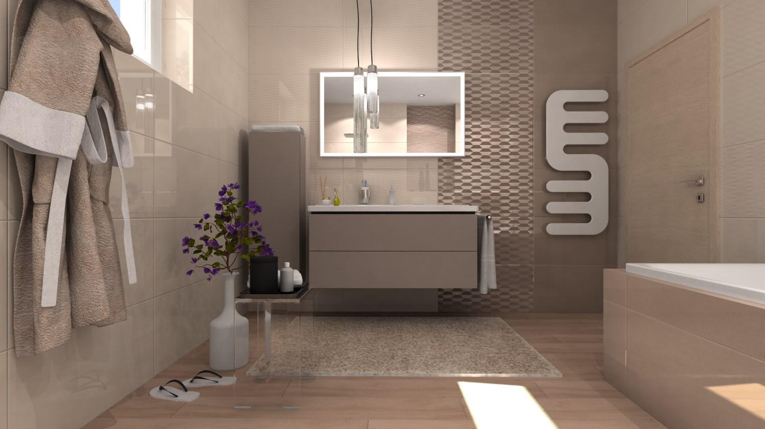 Vizualizácie kúpeľne - Vizualizácia kúpeľne - obklady 40x80 cm
