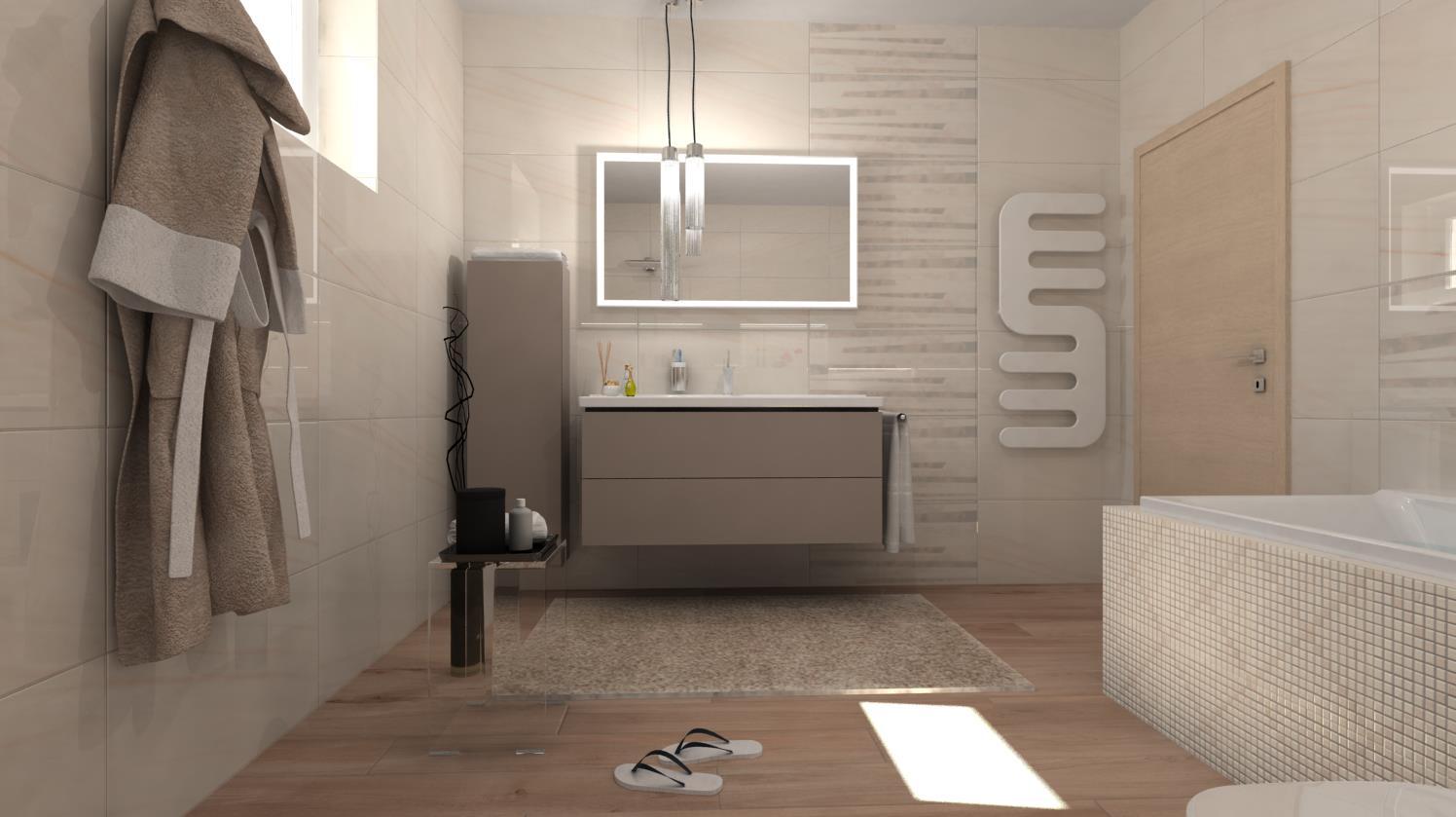 Vizualizácie kúpeľne - Vizualizácia kúpeľne - obklady 40x80 cm - 2. variant