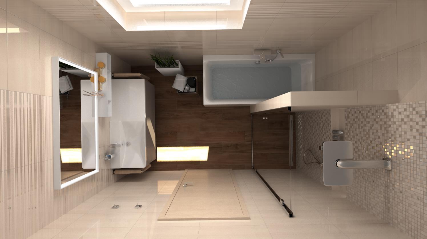 Vizualizácie kúpeľní - Vizualizácia kúpeľne - 1. variant dispozičného riešenia