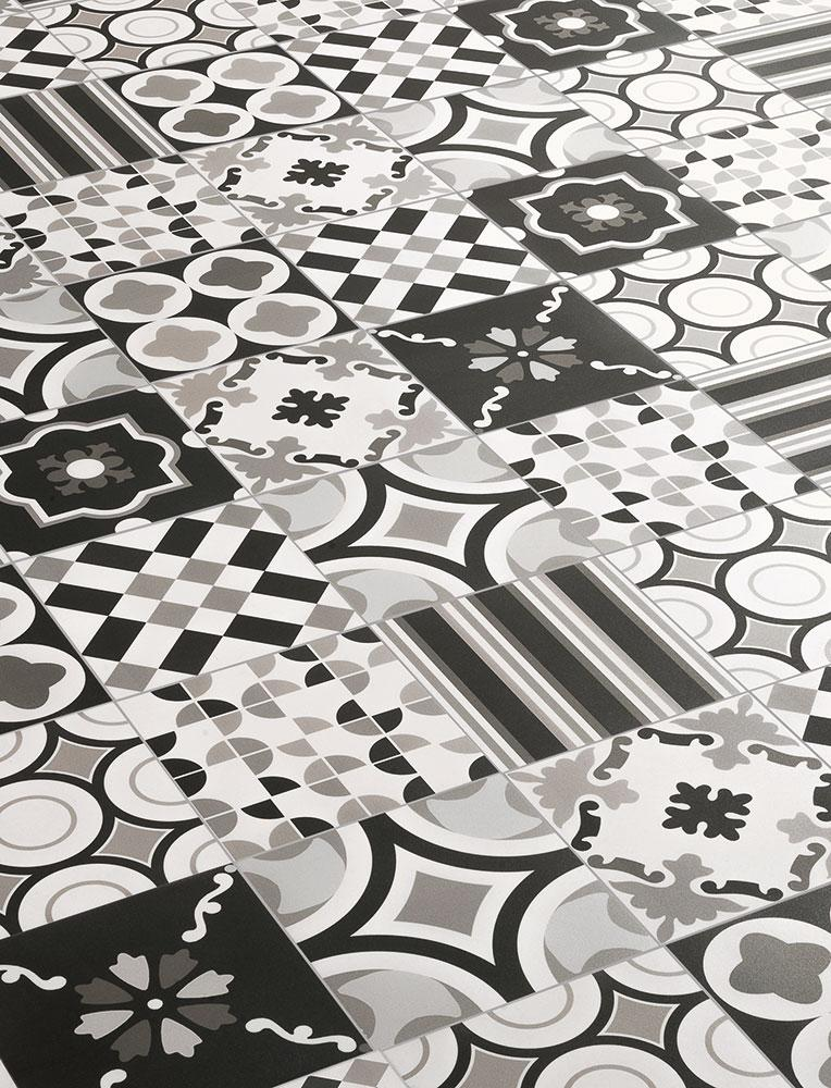 RETRO obklady / dlažby - Patchwork BlackWhite mix, BENEVA