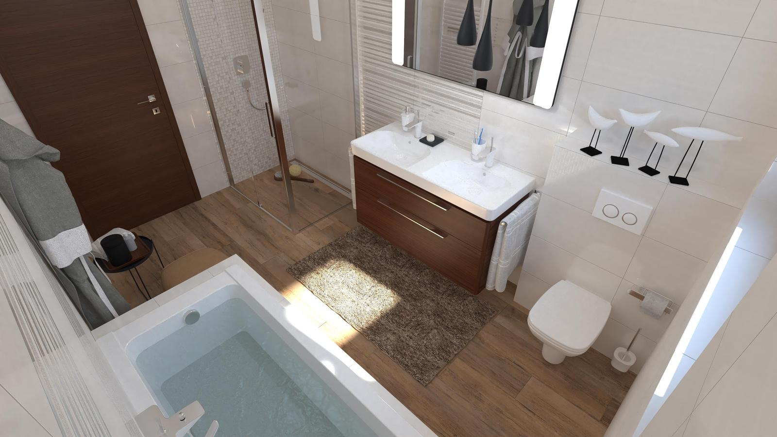 Bielo hnedá kúpeľňa / Vizualizácie - Praktická kúpeľňa. Elegantný biely obklad s dekoratívnymi pásikmi dodá kúpeľni patričný šmrnc a zariadenie v čokoládovom odtieni hnedej s dlažbou v dizajne dreva zasa útulnosť. V tejto kombinácii bude vaša kúpeľňa iste nadčasová.