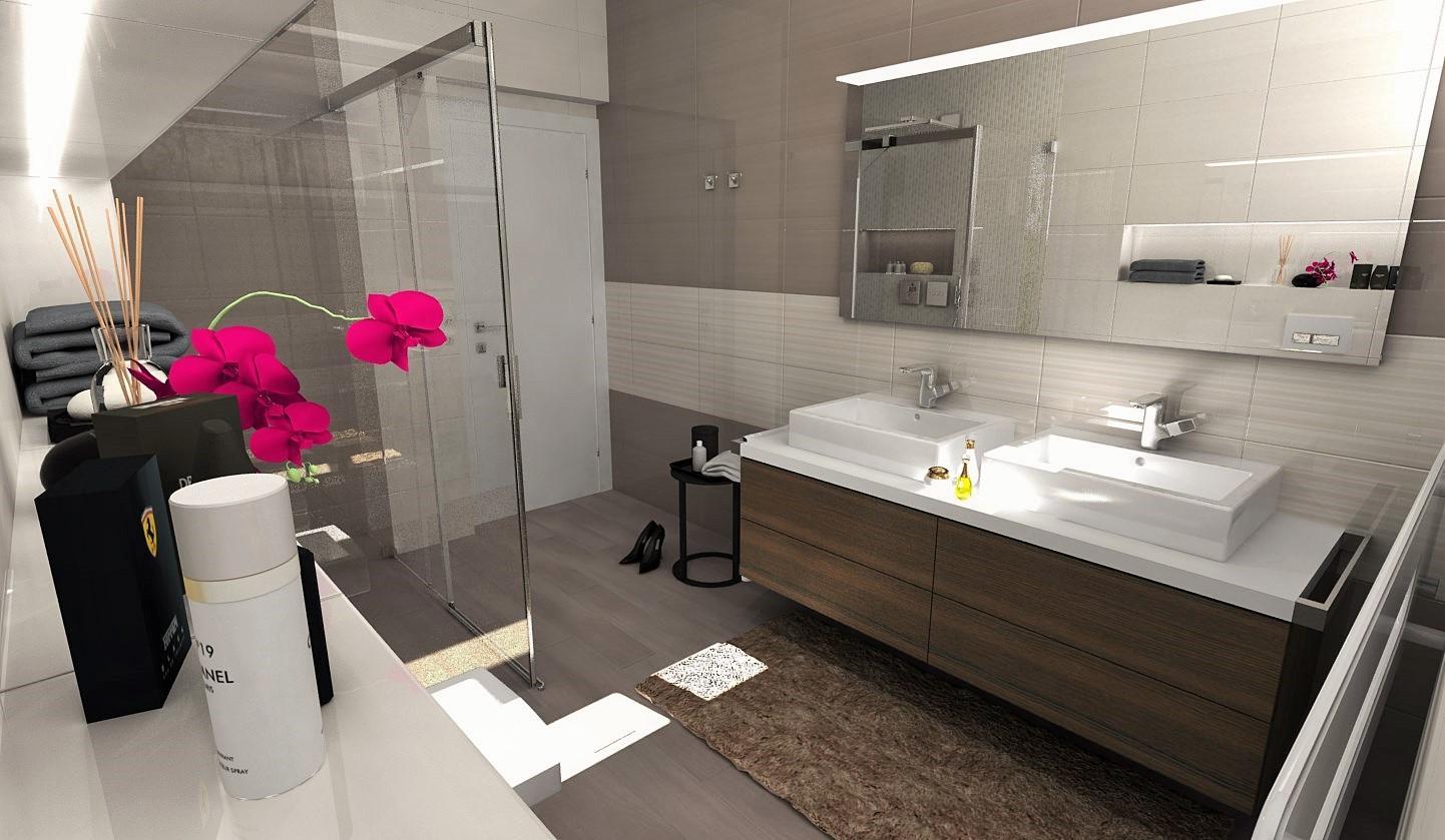 Bielo hnedá kúpeľňa / Vizualizácie - www.beneva.sk/navrhy-kupelni