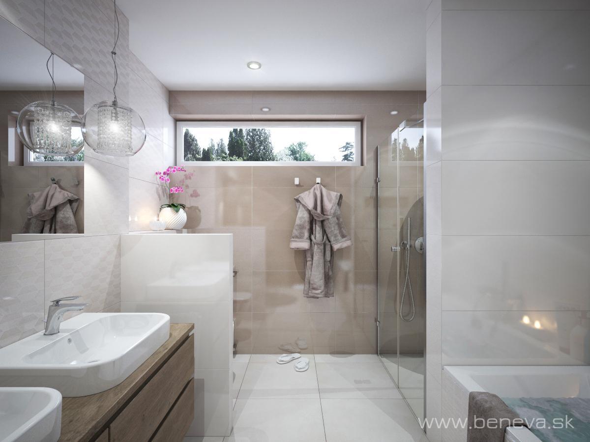 Bielo hnedá kúpeľňa / Vizualizácie - Vizualizácia kúpeľne BENEVA