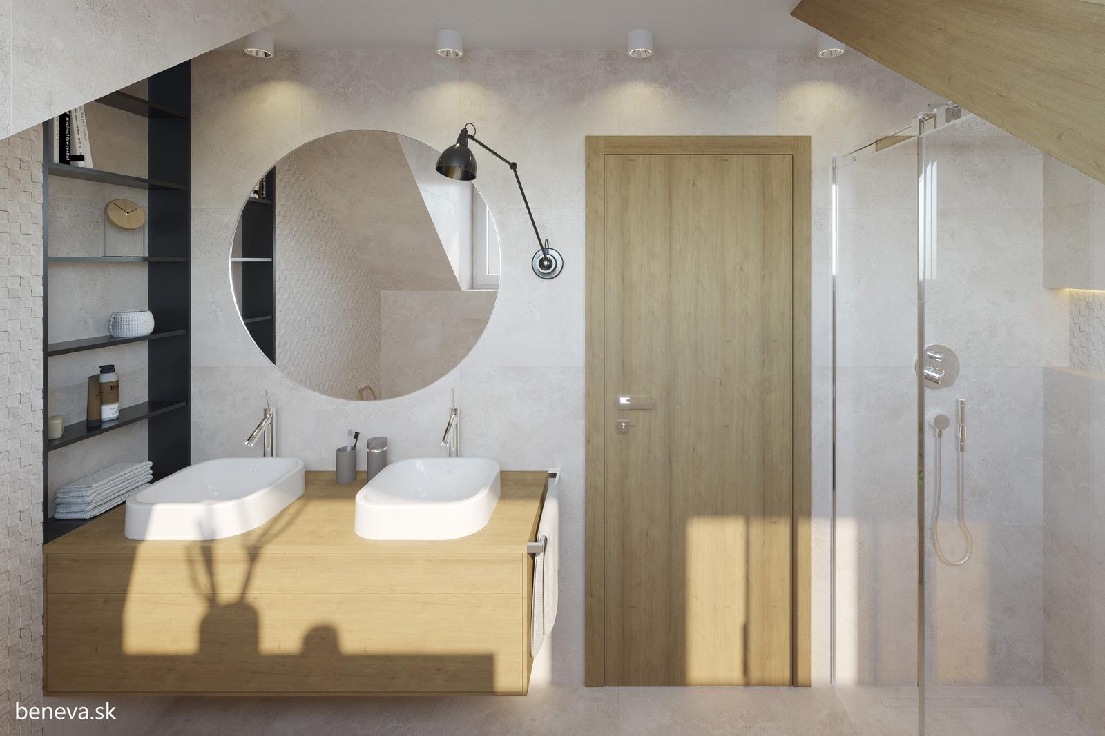3D návrhy kúpeľní / Vizualizácie - Moderná kúpeľňa v podkroví