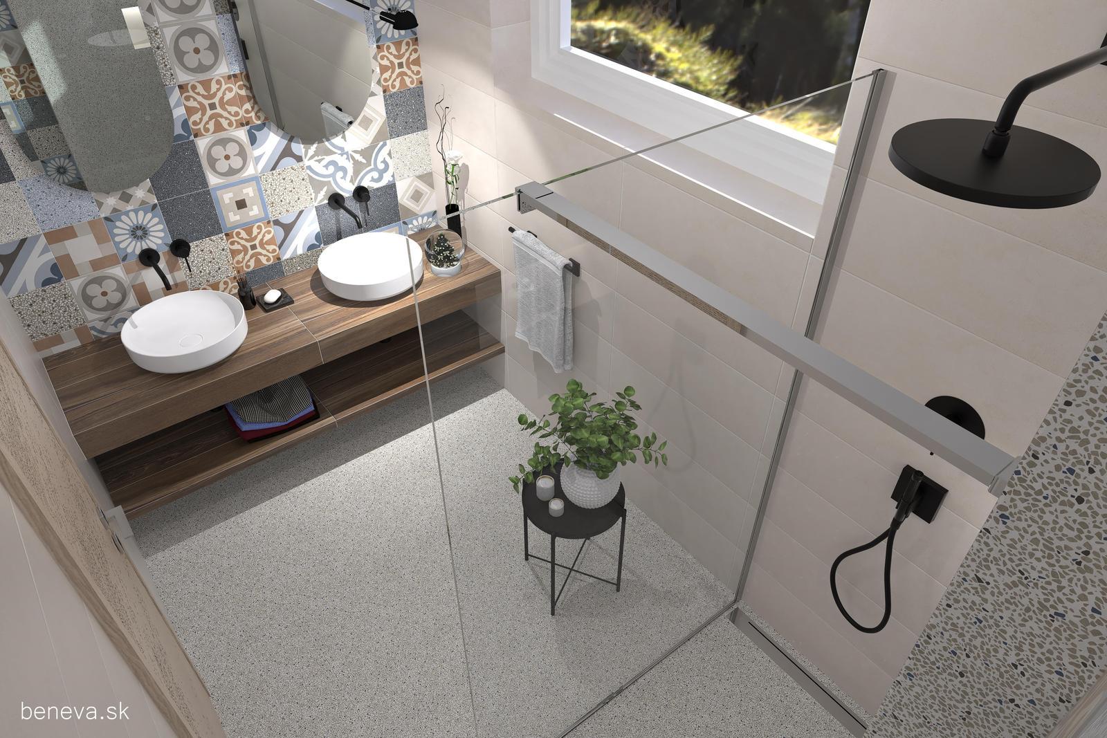 3D návrhy kúpeľní / Vizualizácie - Návrh retro kúpeľne 1
