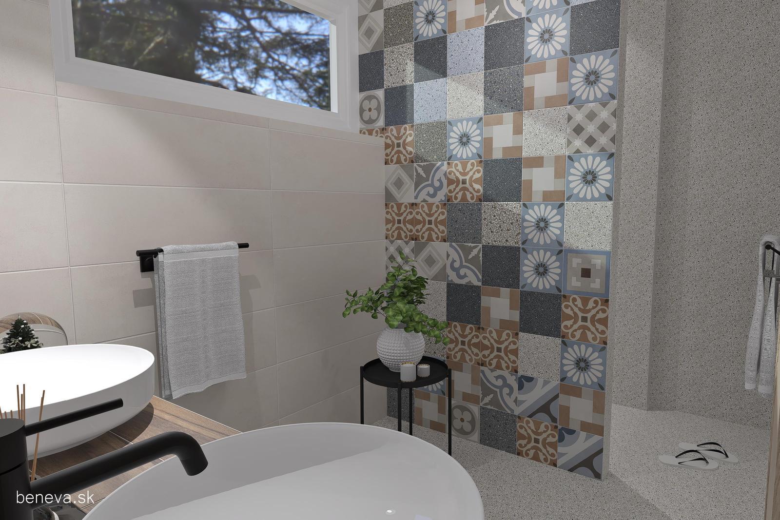 3D návrhy kúpeľní / Vizualizácie - Návrh retro kúpeľne 2