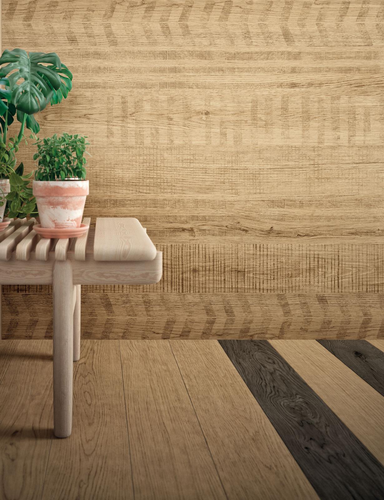 Dlažba imitácia dreva - Dlažba Blond 15x120 a dekor Linear