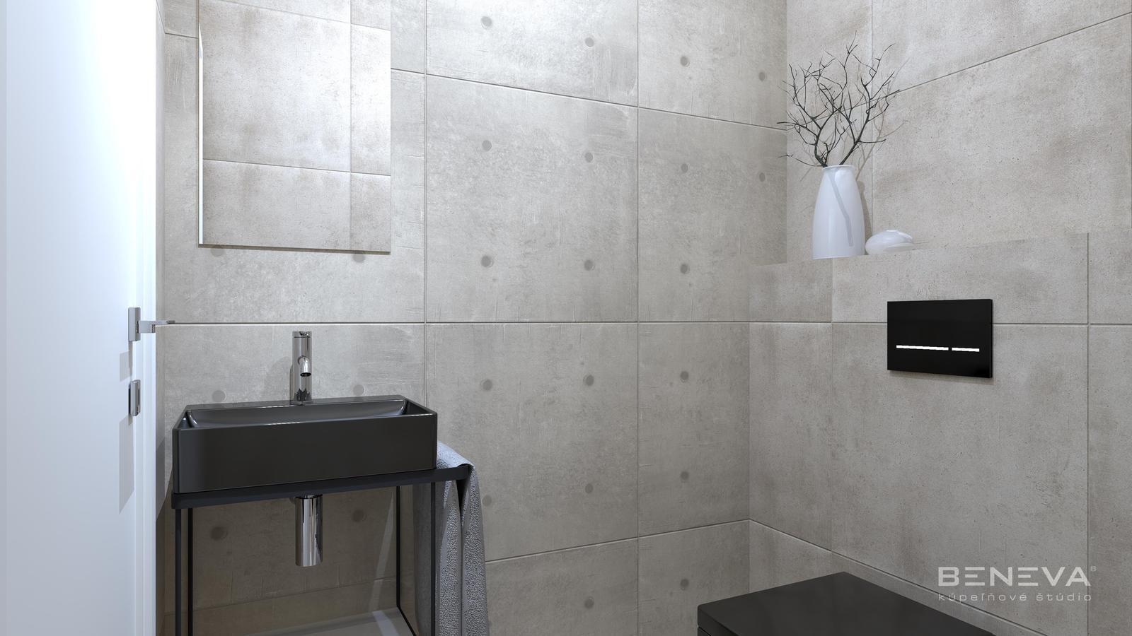 Betónový dizajn obkladov / Vizualizácie kúpeľní - Obrázok č. 9