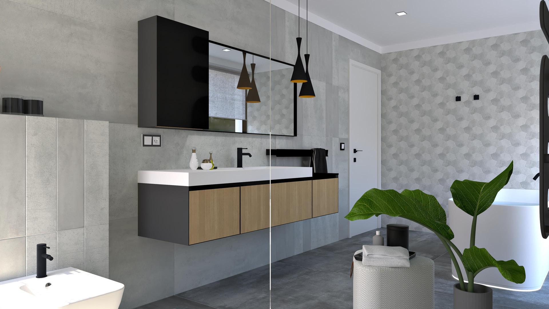 Návrhy kúpeľní 2021 - Vizualizácia kúpeľne / Sivý obklad s jemným metalickým odleskom, čierne doplnky, hexagónová mozaika.