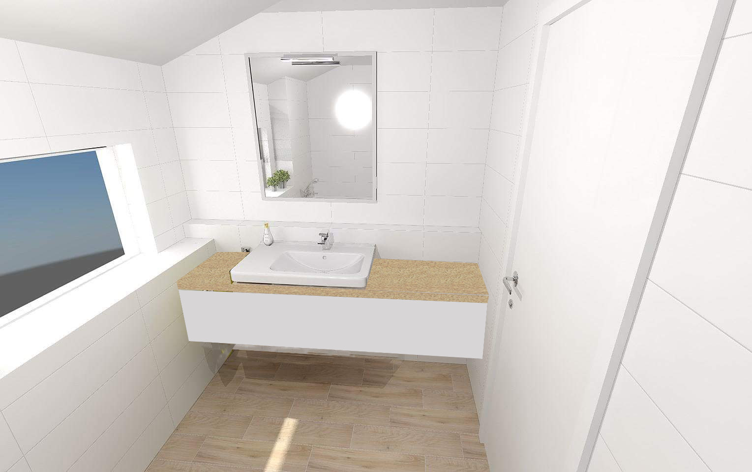 Vizualizace koupelen v našem Kubisu 74 :) - v horní koupelně máme představu o skříňce v tomto stylu (+ zrcadlo přes celou stěnu) - dodávka vlastní