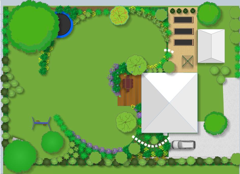 díky velké inspiraci knihy Zelené pokoje od F.Lefflera jsem konečně vytvořila i já návrh zahrady, se kterým jsem rámcově spokojená (jasně, šikovný architekt by to za 100 tis vymyslel možná i líp, ale jelikož těch 100 tis nemám... snad to bude v reálu vypadat tak dobře, jako na papíře :) - Obrázek č. 1