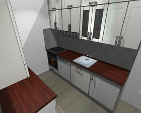 Návrh pidi kuchyně - oprava. (Barevná kombinace na návrhu neodpovídá skutečnosti.)
