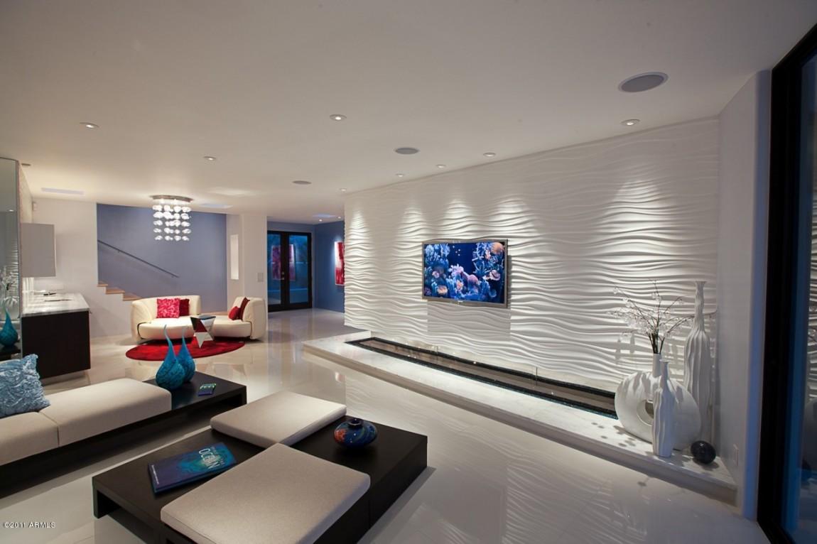 Dekorativný povrch steny - páčia sa mi - reliefna omietka , možno je to aj velky 3D panel za TV