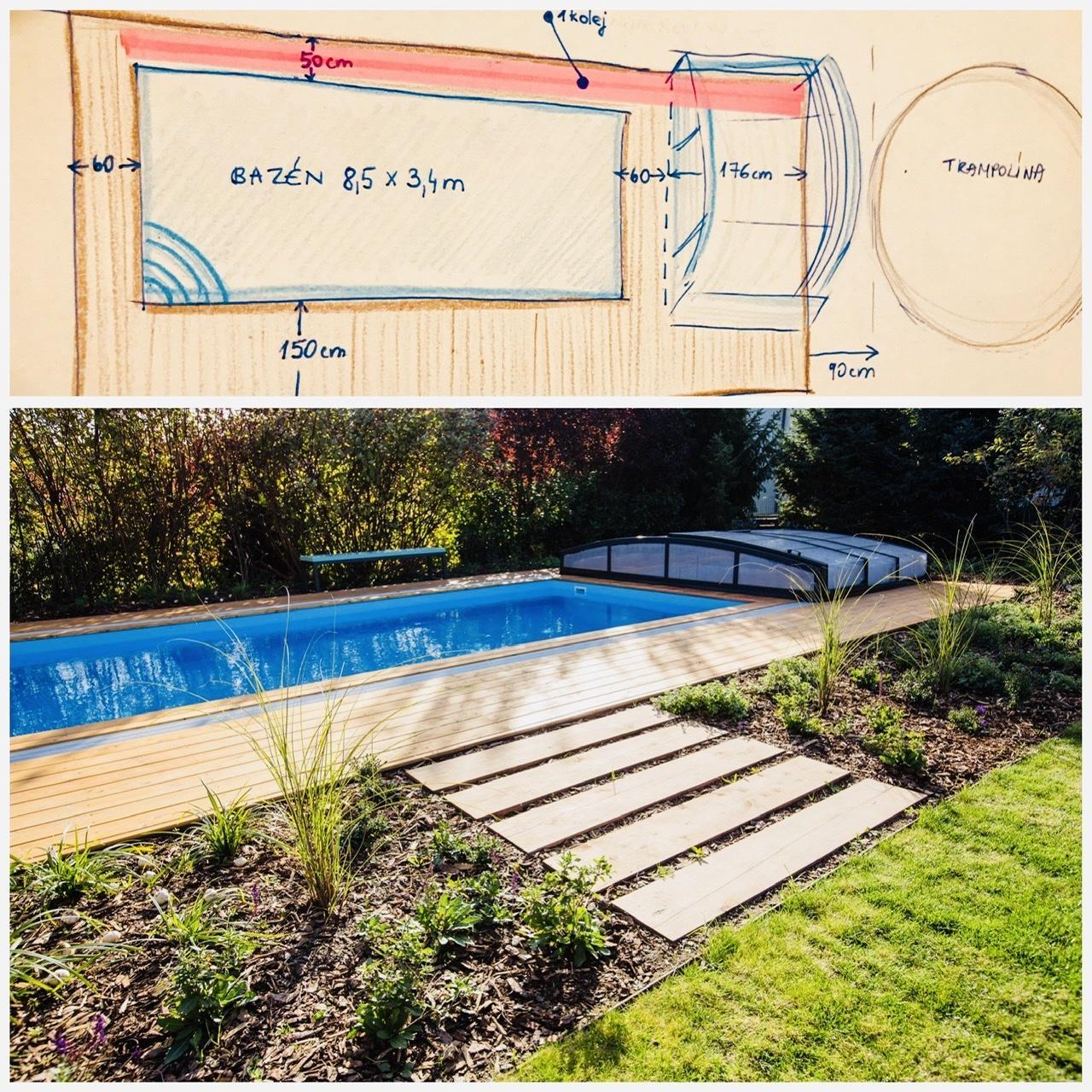 Naše L-ko - 2021 - stále dokončujeme - Rozkres pre bazén. Dnes začíname s úpravou okolia ako prvé príde na radu presadenie 2 velkých platanov o 1,5 metra, aby nezavadzali bazénu. Bazén sa nakoniec upravuje velikostne na 8,5 x 3,4 (skracuje sa) aby sa dalo okolo celeho priestoru obehnuť.
