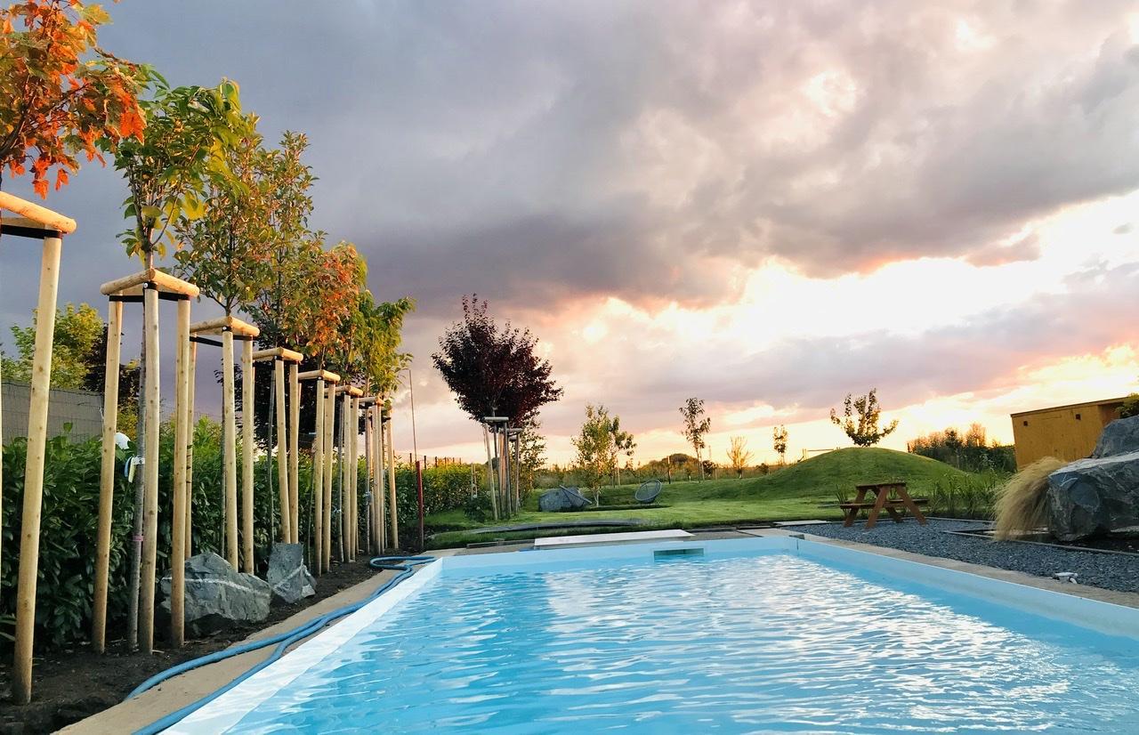Naše L-ko - 2021 - stále dokončujeme - Mladé stromčeky pri vode v žiari západu slnka. Za 2 týždne dorazí drevo a príde na pokládku okolo bazéna.