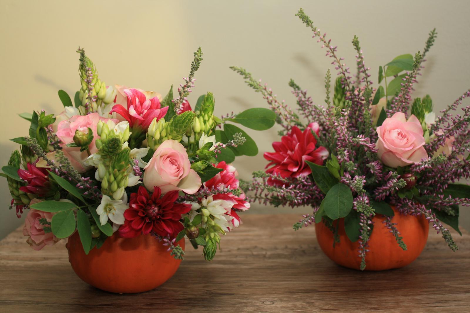 Kvetinové tvorenie - tekvičkový aranžmán