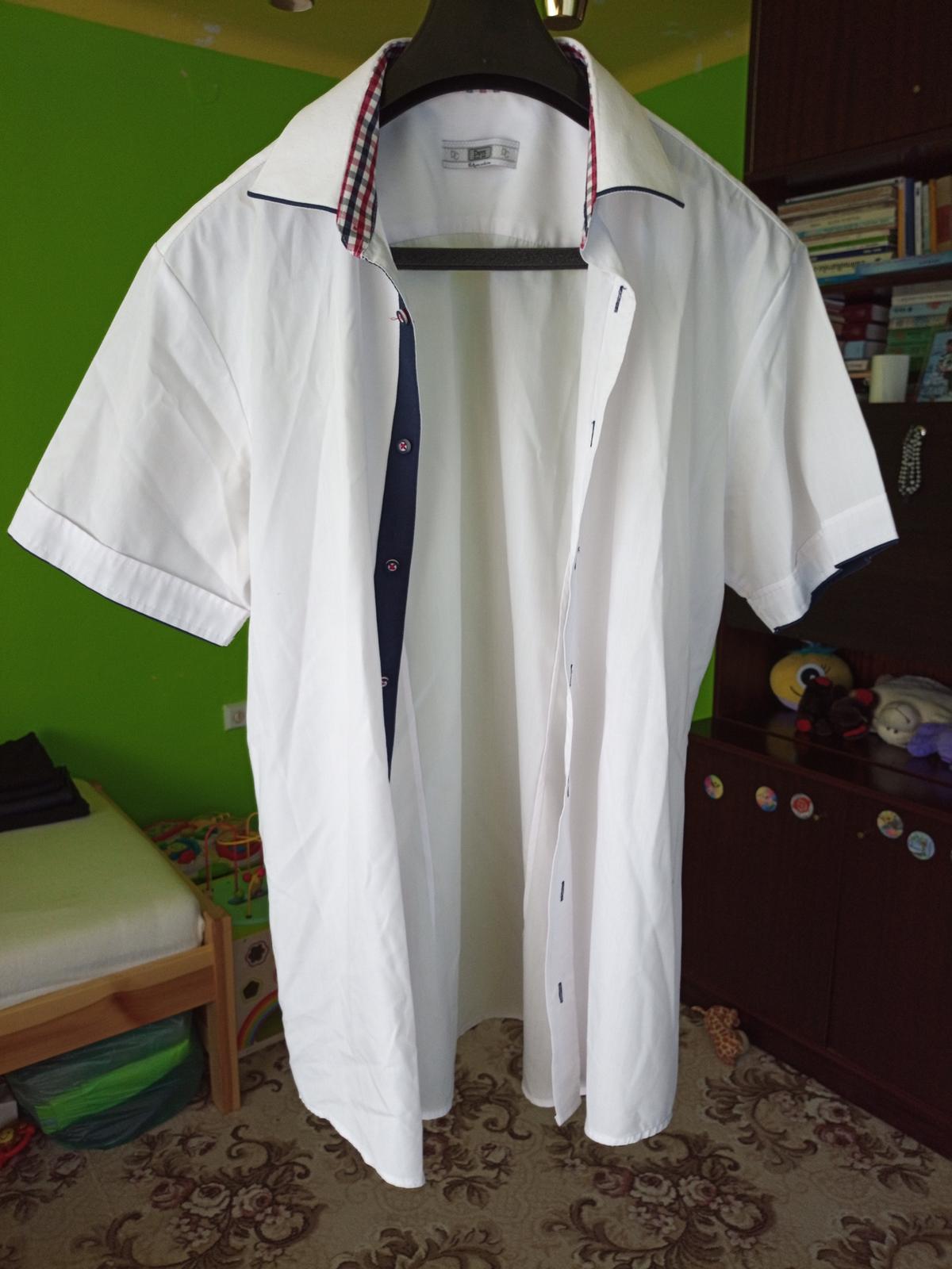 Biela košeľa s krátkym rukávom - Obrázok č. 1