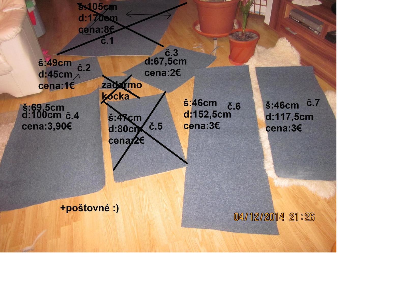 3ks nastrihaných koberčekov vyberajte podla čisla - Obrázok č. 1