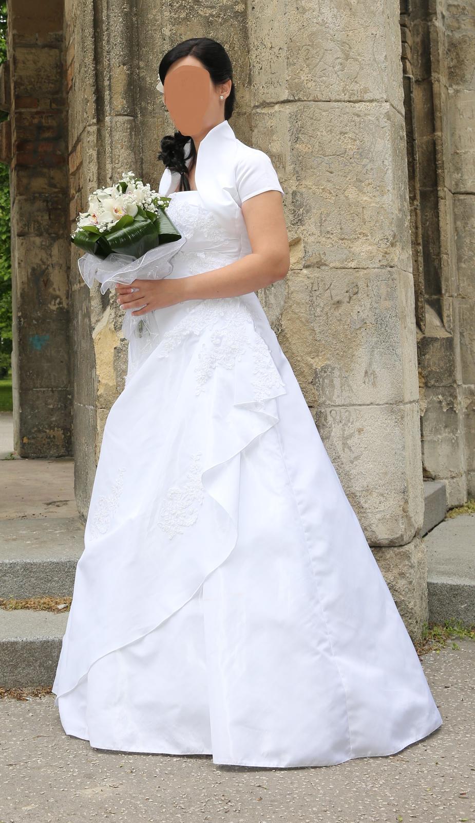 snehobiele svadobné šaty aj s bolerkom 36-38 - Obrázok č. 1