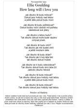 český text našeho Novomanželského tance a proslov Pavlovi svědkyně...