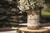 Jutové vázy s krajkou, 12 ks ,