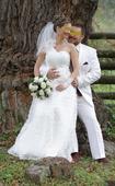 Svadobné šaty s čipkou a kamienkami, 38