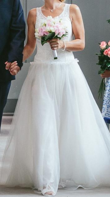 Jemné svadobné šaty 36-38 - Obrázok č. 1