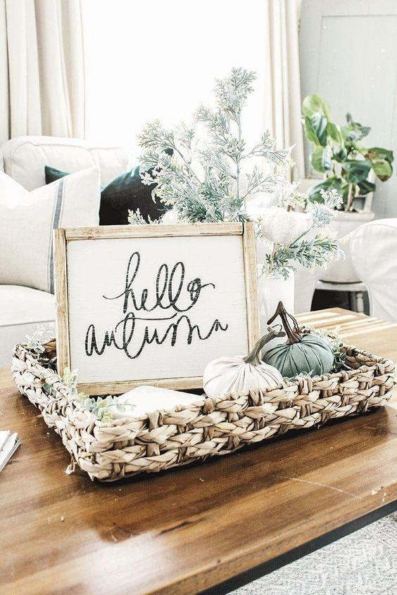 Podzimní dekorace v obývacím pokoji