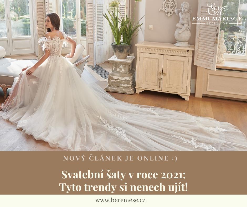 Od hravých třpytek a pastelových barev až po výrazné rukávy, holá záda, neobvyklé vzory látek a mašle. :) Tyto trendy svatebních šatů budou v roce 2021 jednoznačně těmi nejžhavějšími. Co dalšího můžeme očekávat nám prozradila Andrea Prohl Huczková ze @studiosvatebnimody v nejnovějším článku: https://bit.ly/svatebni-saty-trendy-2021 :) - Obrázek č. 1