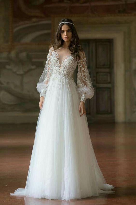 Svatební šaty s rukávy - Obrázek č. 2