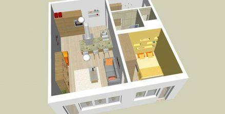Návrh interiéru prerobeného (pôvodne jednoizbového) bytu - alternatíva A