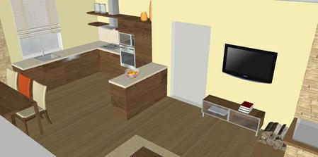skrinky pri vstupe do miestnosti slúžia ako časť kuchynskej linky aj s pracovnou doskou