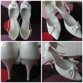 Svatební bílé kožené boty, vel. 40, 40