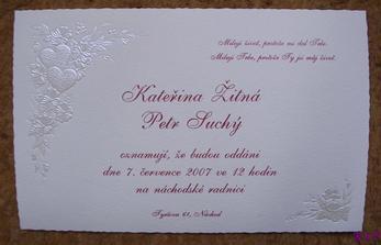 Svatební oznámení v šampaň barvě