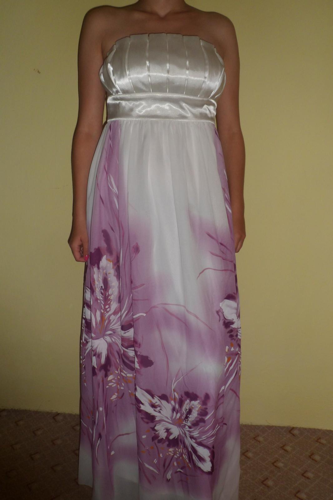nádherné bielofialové šaty Ever pretty L - Obrázok č. 1