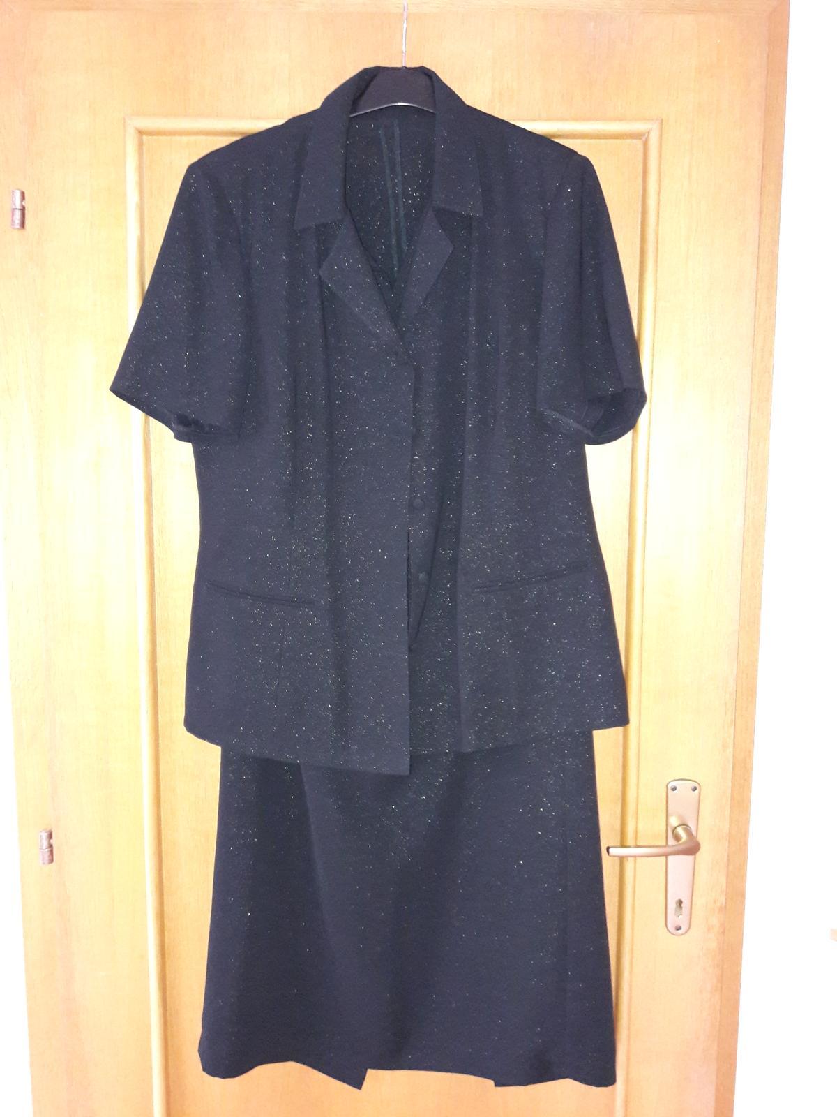 sukňový kostým - čierny trblietavý - Obrázok č. 1