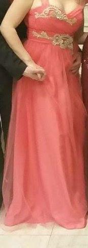Spoločenské šaty lososovej farby s kamienkami - Obrázok č. 1
