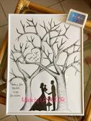 Svatební strom se siluetami postav,