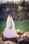 svadobné šaty s krajkou+závoj, 36