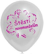a koupeny  růžové a bílé balonky s přáním