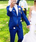 Pánský modrý karečkovaný oblek, 50