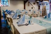 Světle modrý vlizelín na stoly,