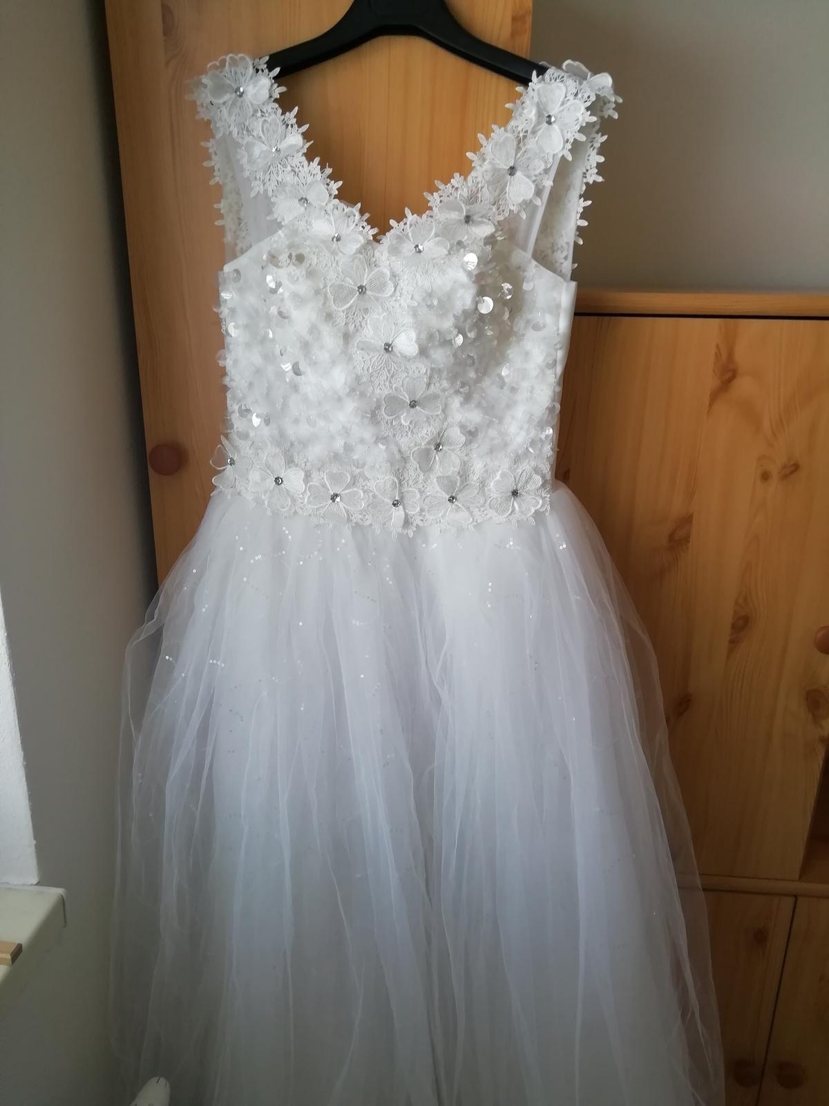 Trblietave kvietkovane Svadobné šaty S  - Obrázok č. 1