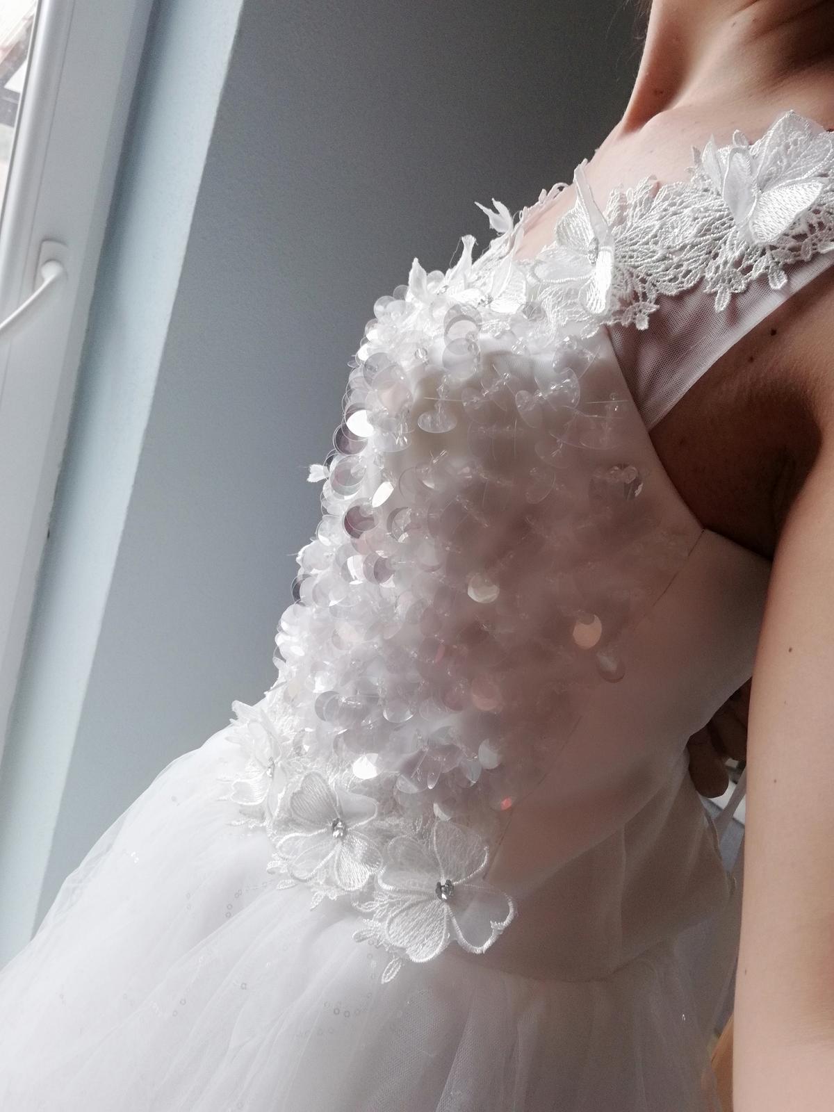 Trblietave kvietkovane Svadobné šaty S  - Obrázok č. 2