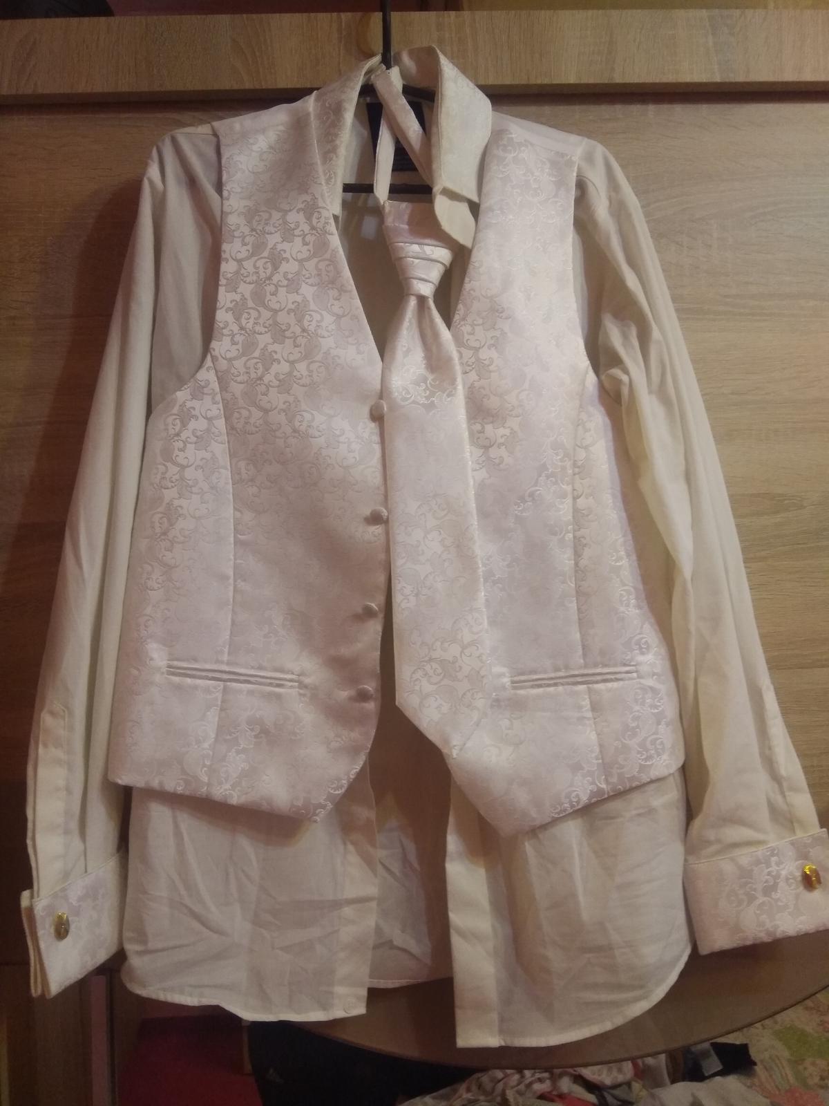 Vesta, kosela, kravata a vreckovka pre ženícha - Obrázok č. 2