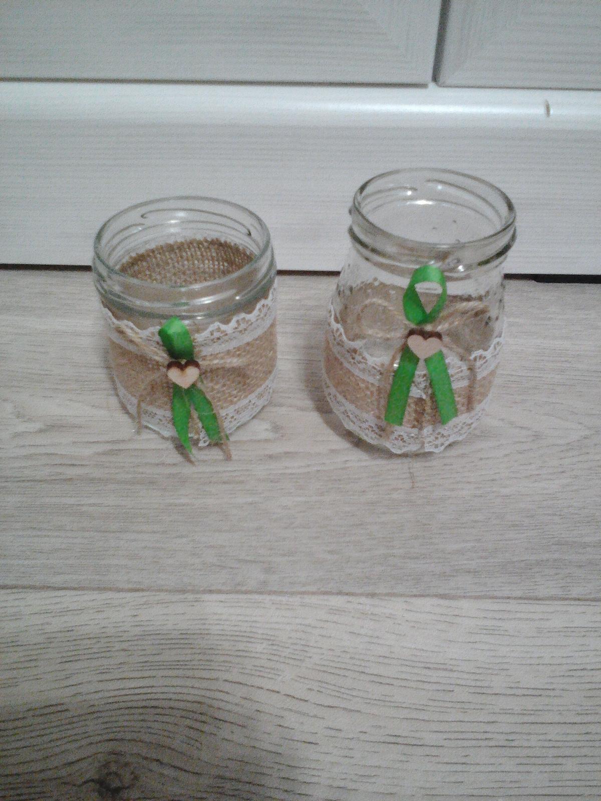Svícínky s jutovou krajkou - Obrázek č. 1