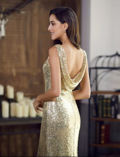 Zlaté dlhé šaty - Obrázok č. 2